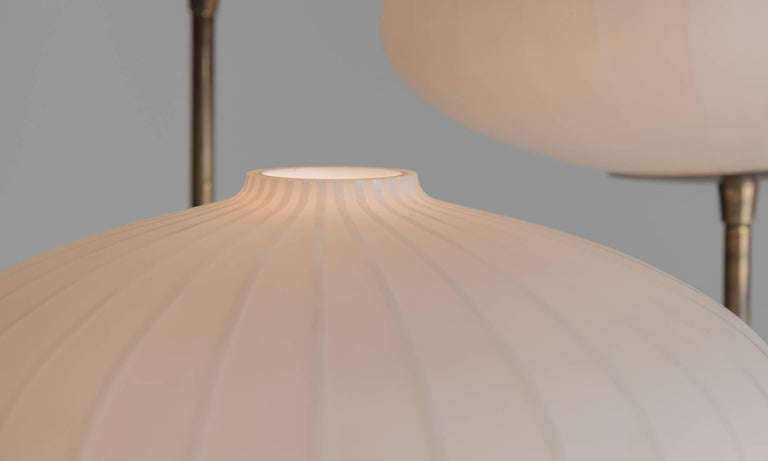 Triple Opaline Glass Floor Lamp, circa 1960 In Good Condition For Sale In Culver City, CA