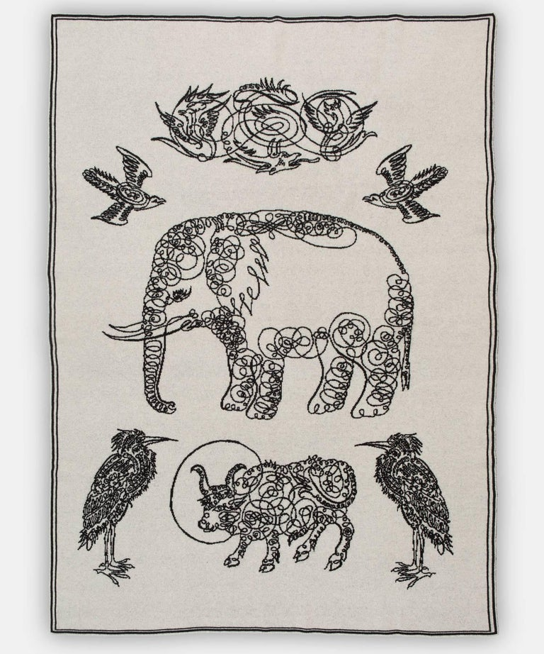 Elephant and friends blanket by Saved, New York.