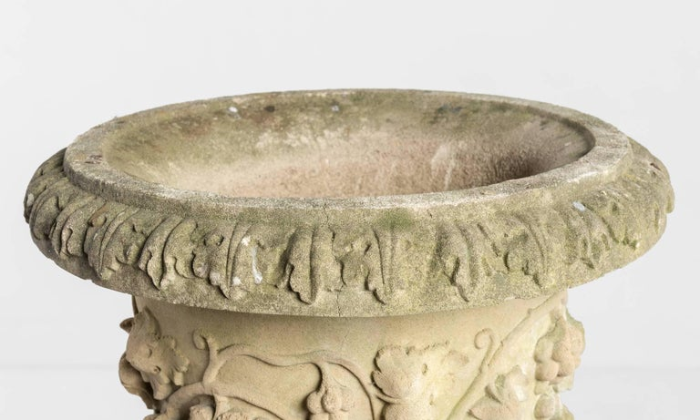 Decorative Cast Stone Urn with Pedestal, circa 1950 In Good Condition For Sale In Culver City, CA