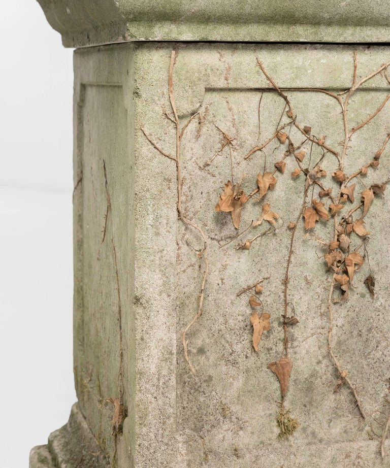 Mid-20th Century Decorative Cast Stone Urn with Pedestal, circa 1950 For Sale