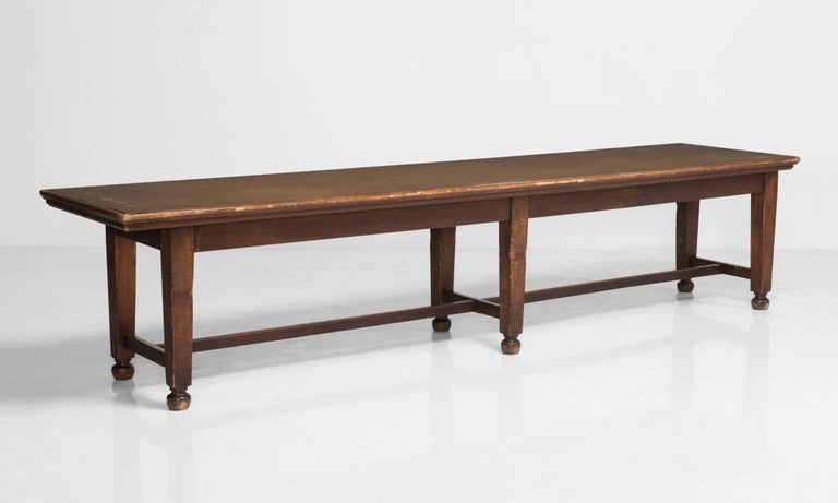 Library Table Circa 1950 Long With Hardwood Frame Patinated Laminate Top
