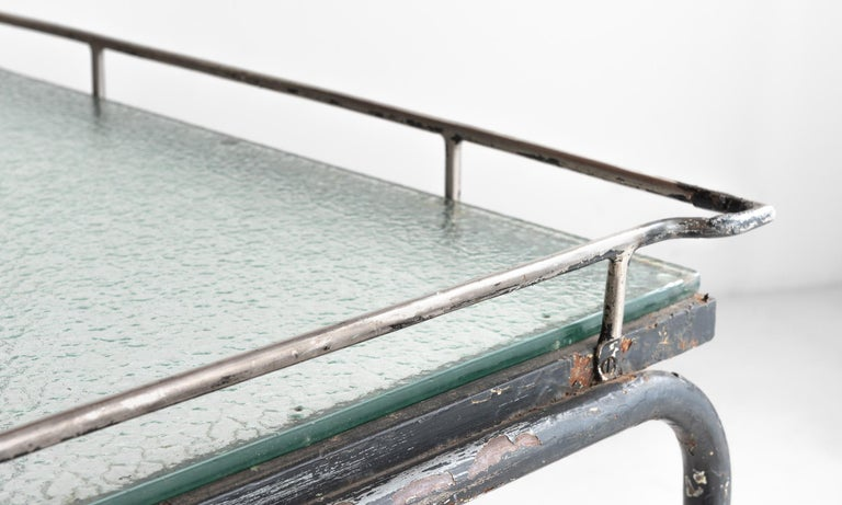 Early 20th Century Iron and Frosted Glass Potting Table, circa 1920 For Sale