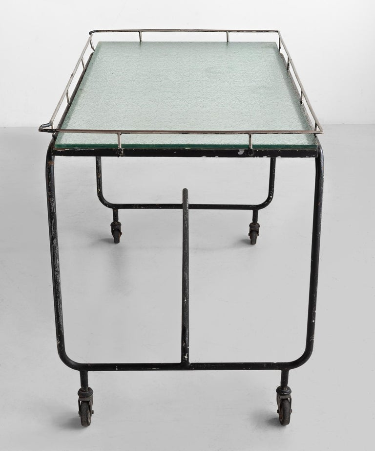 Italian Iron and Frosted Glass Potting Table, circa 1920 For Sale