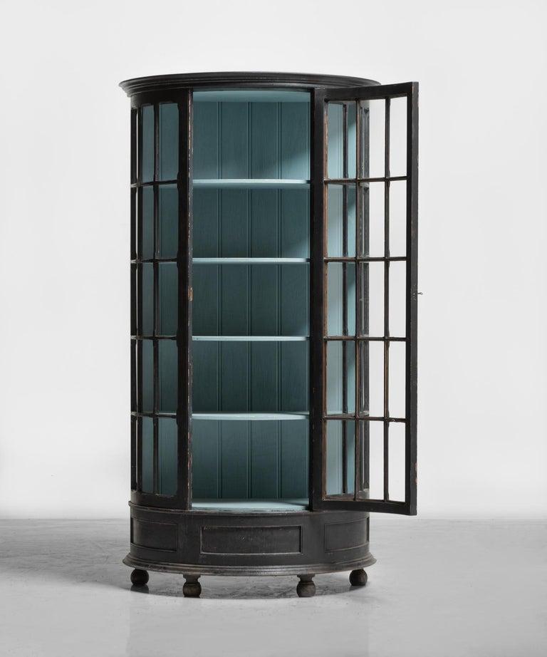 English Demilune Display Cupboard, circa 1900 For Sale
