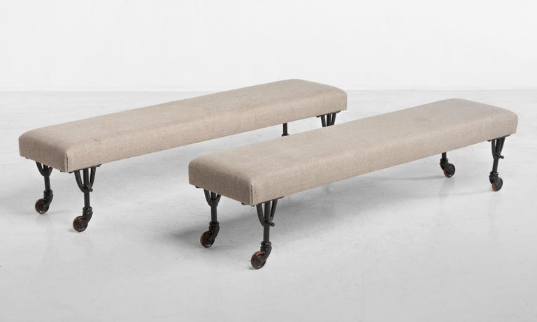 Pair of benches in Russian linen, circa 1930
