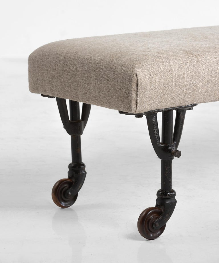 English Pair of Benches in Russian Linen, circa 1930 For Sale