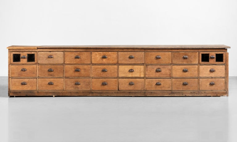 Oak Bank of Drawers, England, circa 1900  Massive form with beautiful patina and solid oak construction.