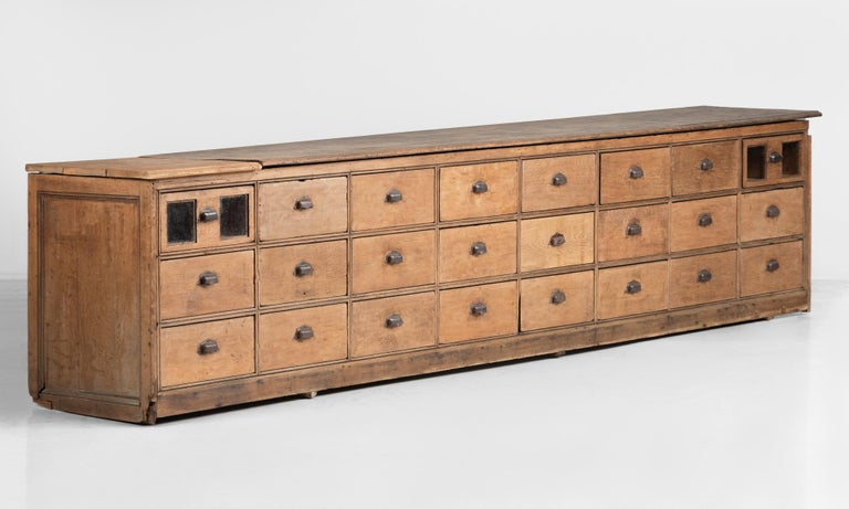 English Oak Bank of Drawers, circa 1900 For Sale