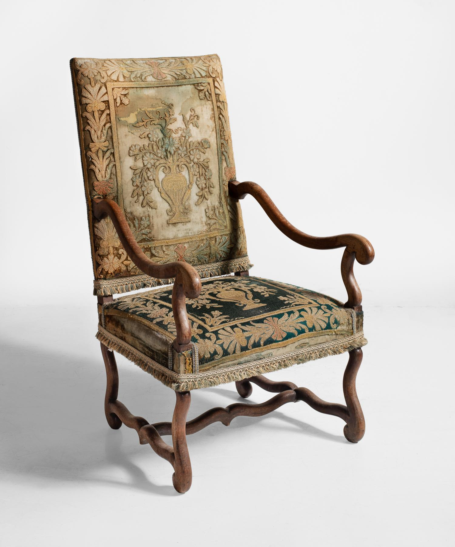 Os De Mouton Tapestry Chair, Circa 1870 Exquisite Embroidered Upholstery  Has Been Reinforced With New
