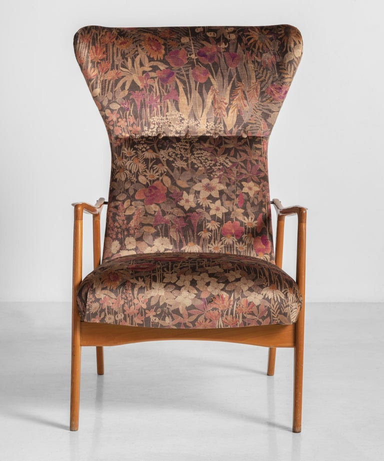 French Modern Wingback Armchairs, circa 1950 For Sale
