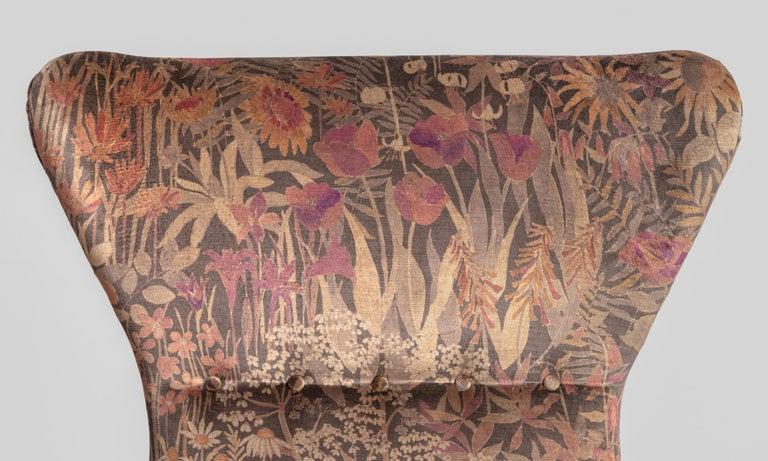 Velvet Modern Wingback Armchairs, circa 1950 For Sale