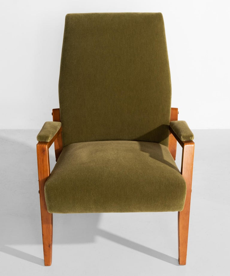 Italian Pair of Mohair Lounge Chairs, circa 1960 For Sale