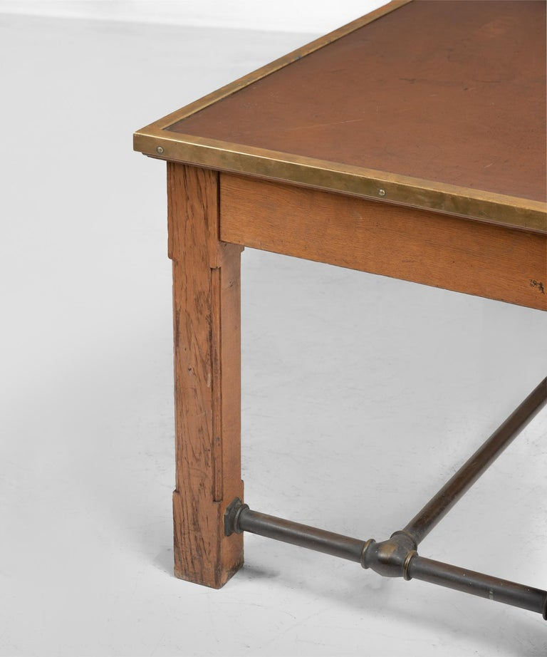 French Oak, Brass and Leather Bankers Table, France, circa 1950 For Sale