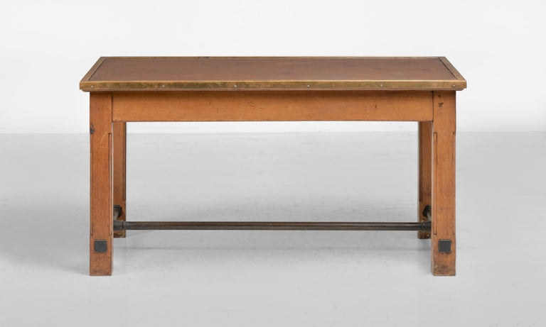 Modern Oak, Brass and Leather Bankers Table, France, circa 1950 For Sale