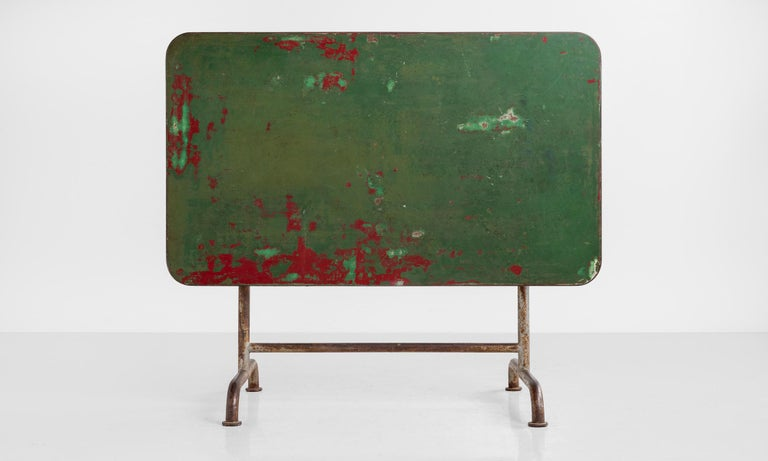 Metal Iron Factory Table, circa 1920 For Sale