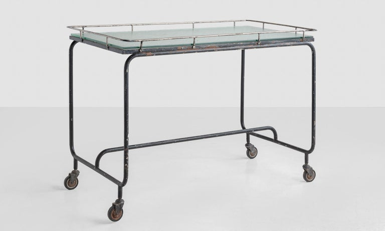 Iron and frosted glass potting table, circa 1920