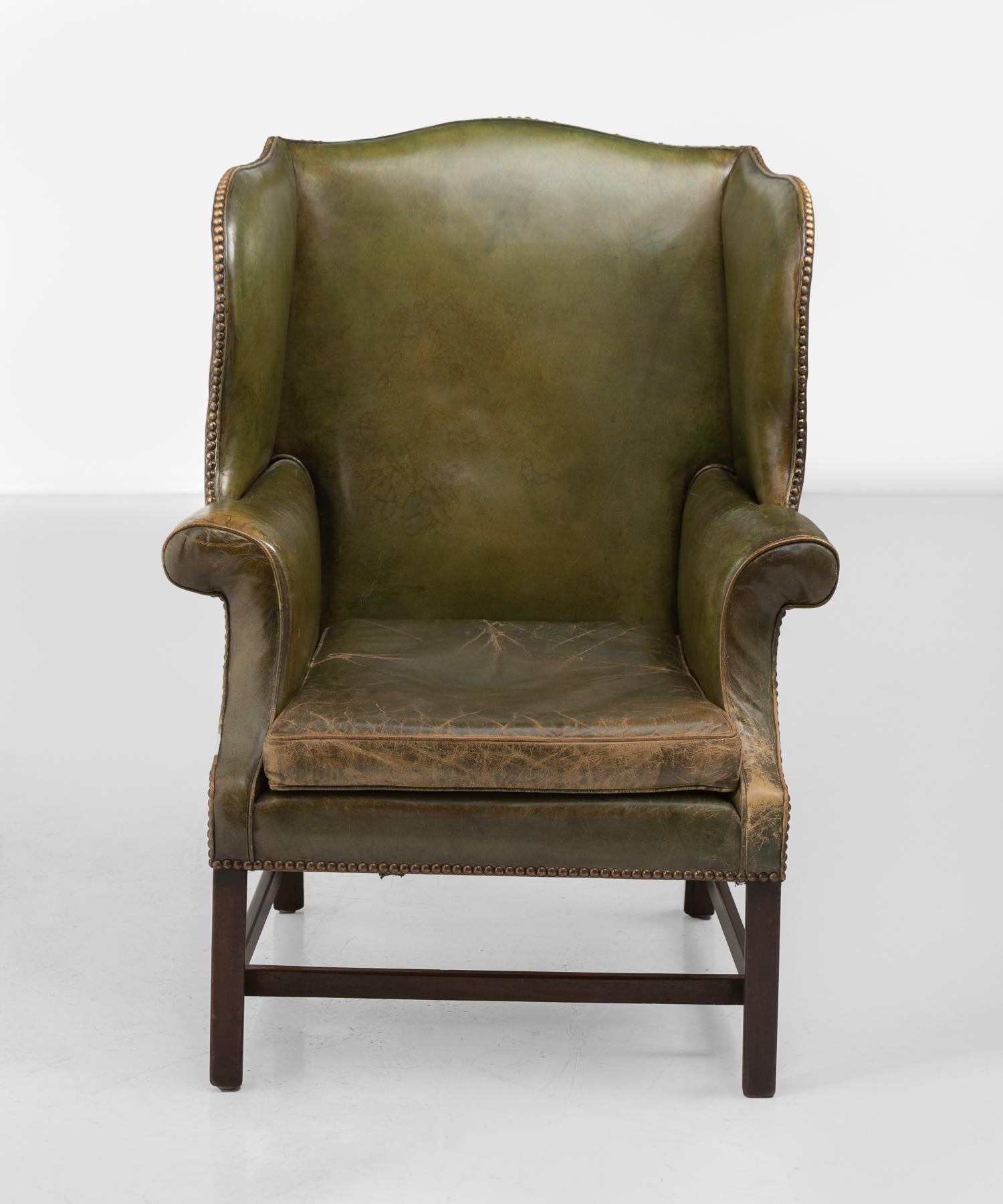 English Green Leather Wingback Chair circa 1920 For Sale & Green Leather Wingback Chair circa 1920 For Sale at 1stdibs