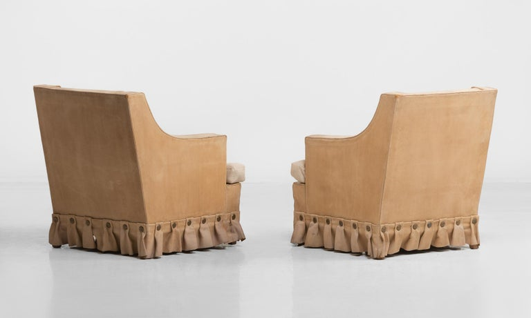 Modern Pair of Leather Armchairs, circa 1960 For Sale