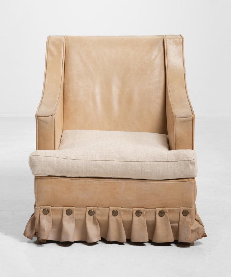 English Pair of Leather Armchairs, circa 1960 For Sale