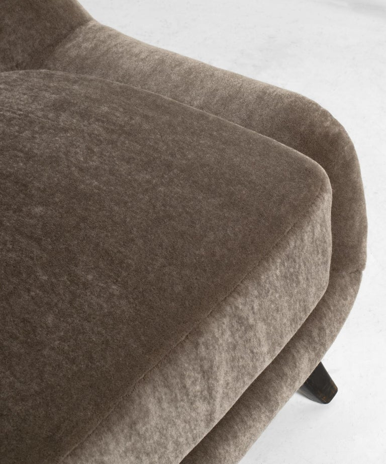 Mohair Modern Sofa, circa 1960 For Sale