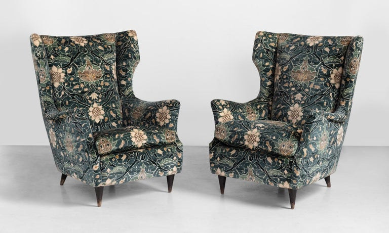 Modern wingback chairs, circa 1950