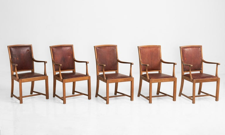 English Carved Oak and Leather Dining Chairs, England, circa 1930 For Sale