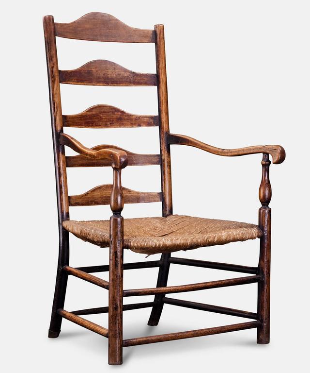 Marvelous Ladderback Chair. Original Rush Seat.
