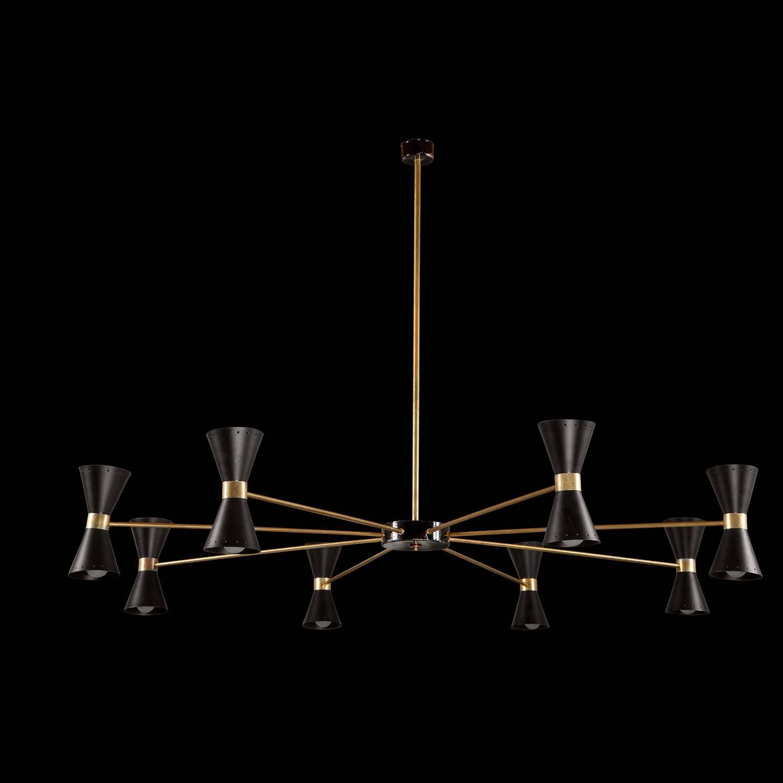 Black metal and brass sputnik chandelier at 1stdibs for Sputnik chandelier