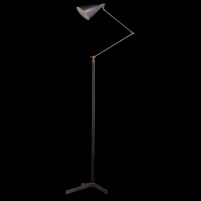 Black Metal And Brass Modern Floor Lamp At 1stdibs