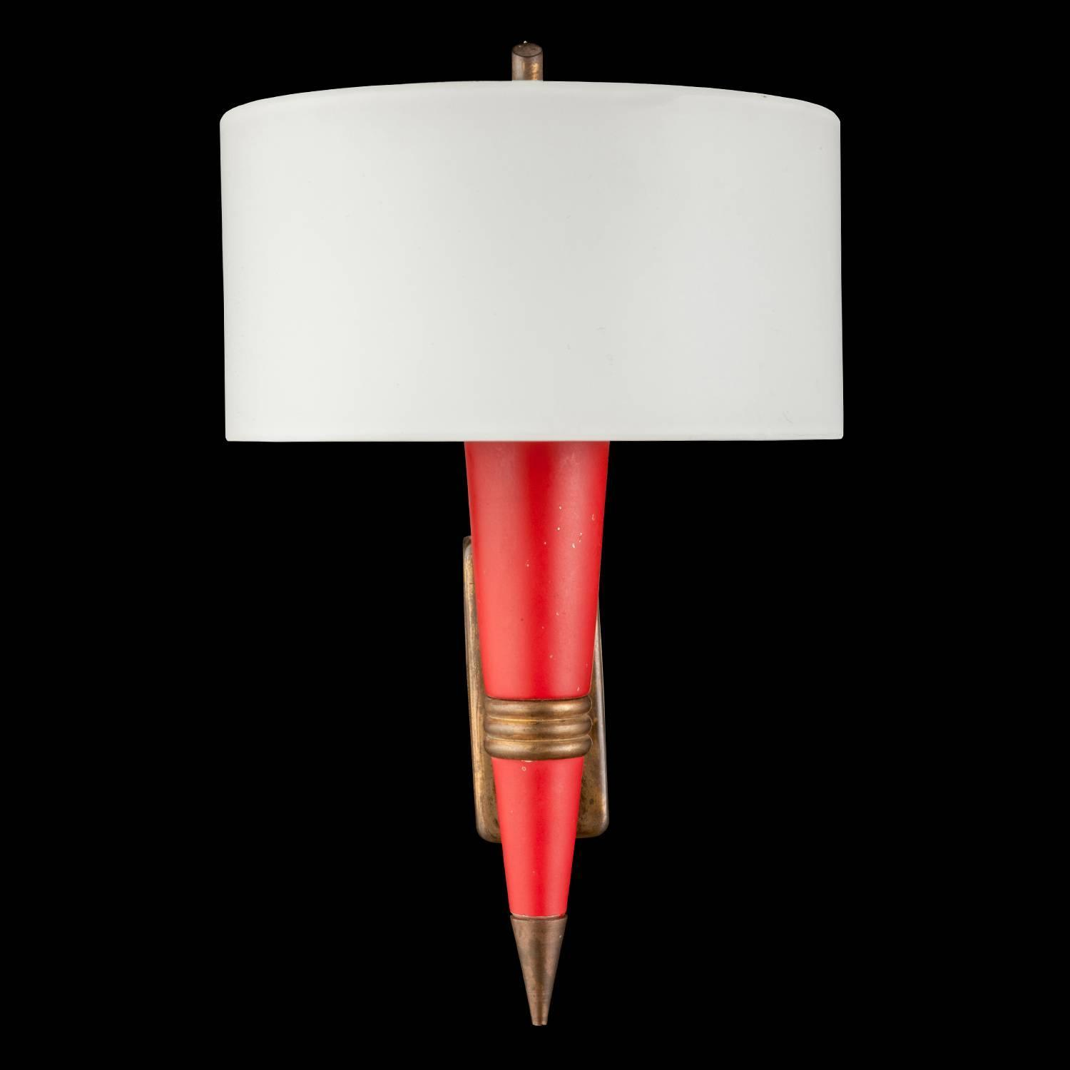 Red Glass Wall Sconces : Red Metal / Opaline Glass Sconce at 1stdibs