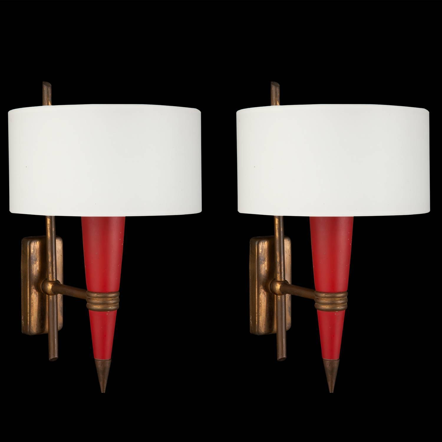 Red Metal / Opaline Glass Sconce at 1stdibs