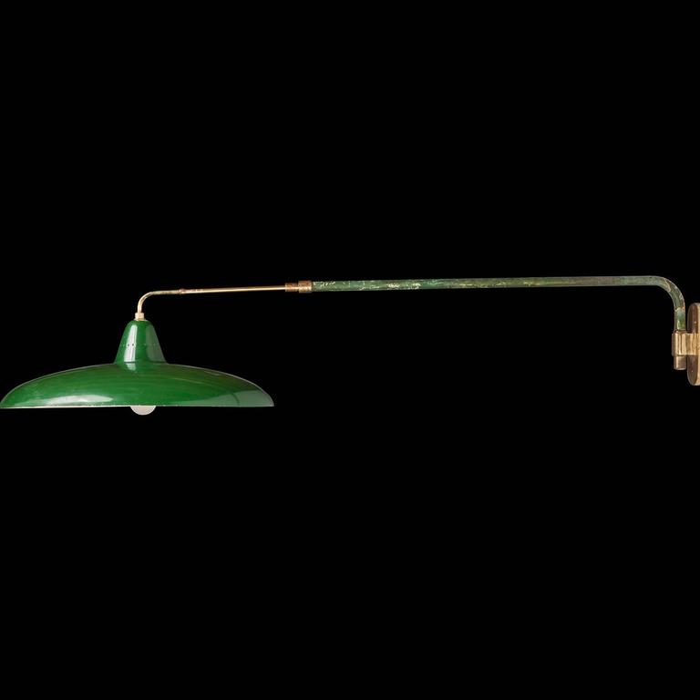 Wall Lamp With Extending Arm : Green Extension Arm Lamp at 1stdibs