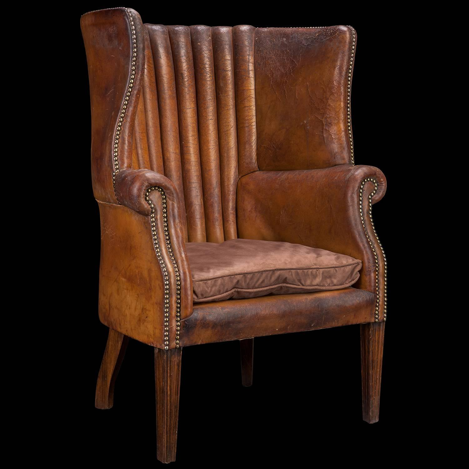 Barrel back leather wing chair for sale at 1stdibs for Leather wingback recliner sale