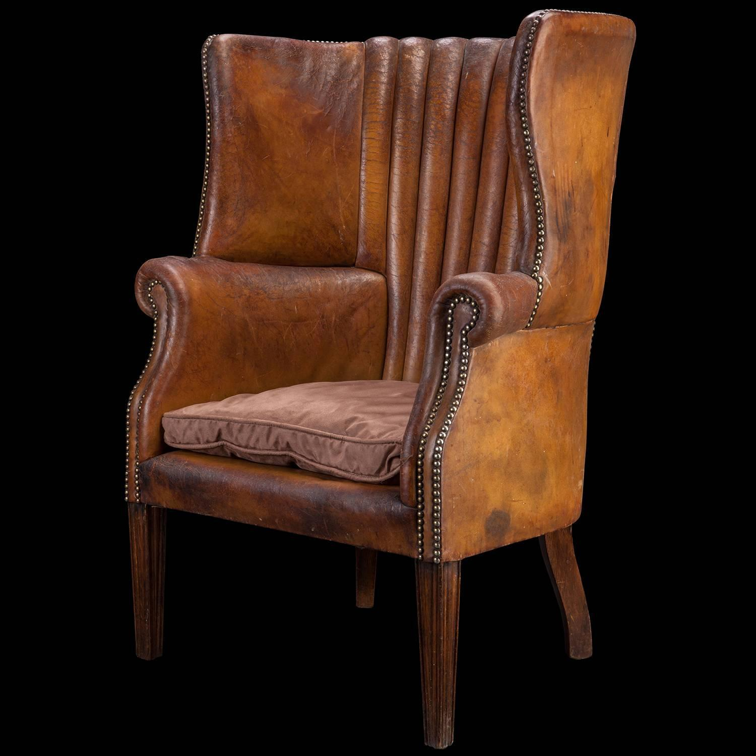 Barrel Back Leather Wing Chair For Sale At 1stdibs