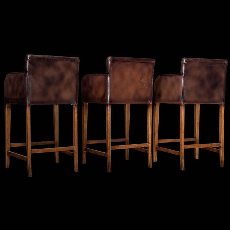 Leather Wood Bar Stools At 1stdibs