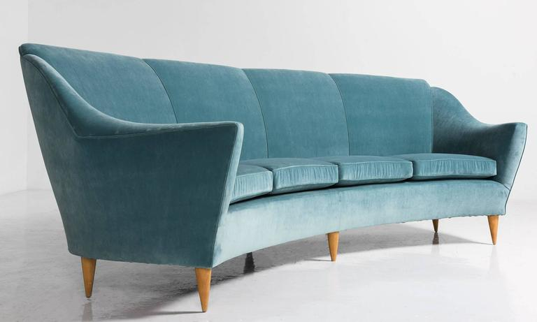 French Velvet and Wood Curved Modern Sofa, circa 1960 For Sale