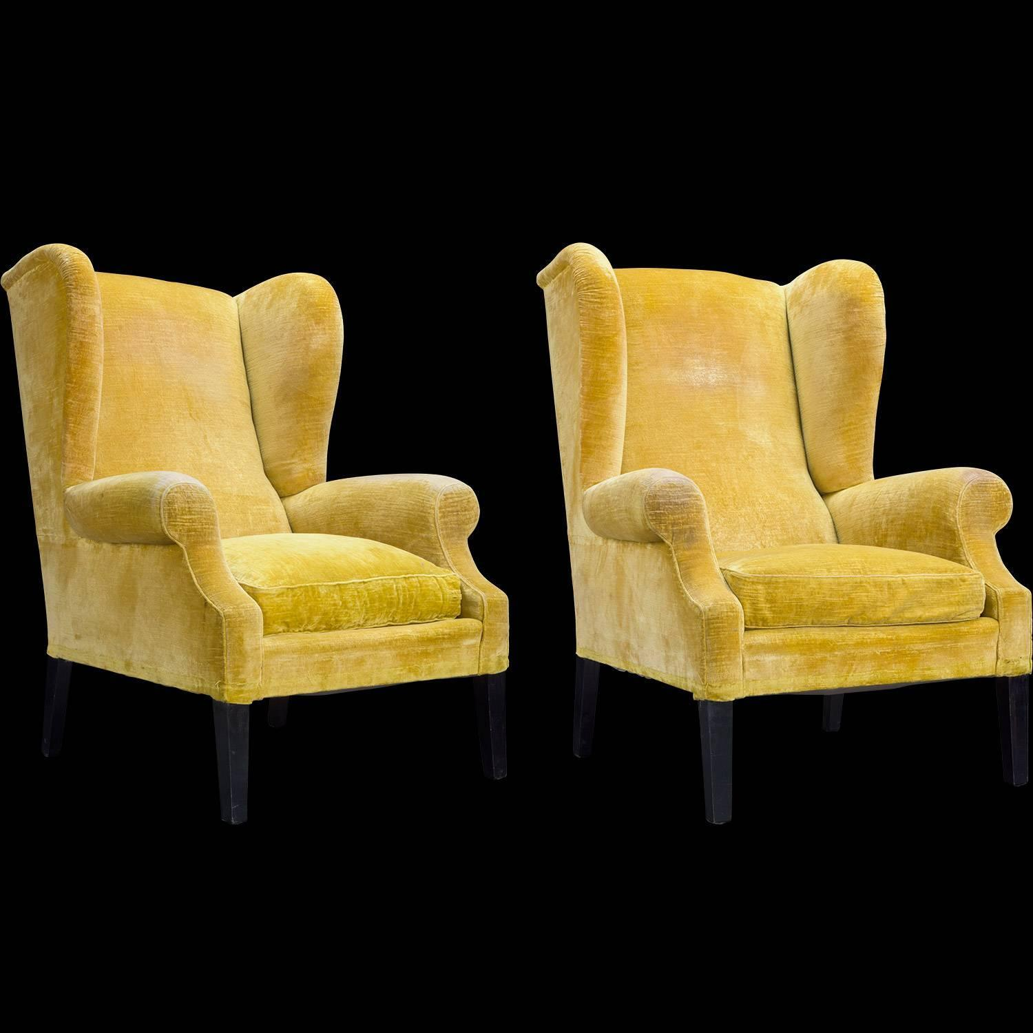 Pair of Yellow Velvet Wingback Armchairs, circa 1950 For ...