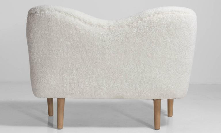 Faux Wool Danish Sofa, circa 1970 3