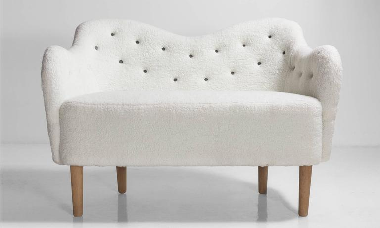 Faux Wool Danish Sofa, circa 1970 2