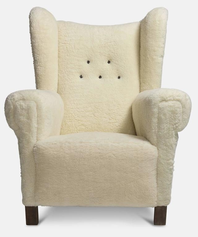Faux Wool Danish Wingback Chair, circa 1970 2