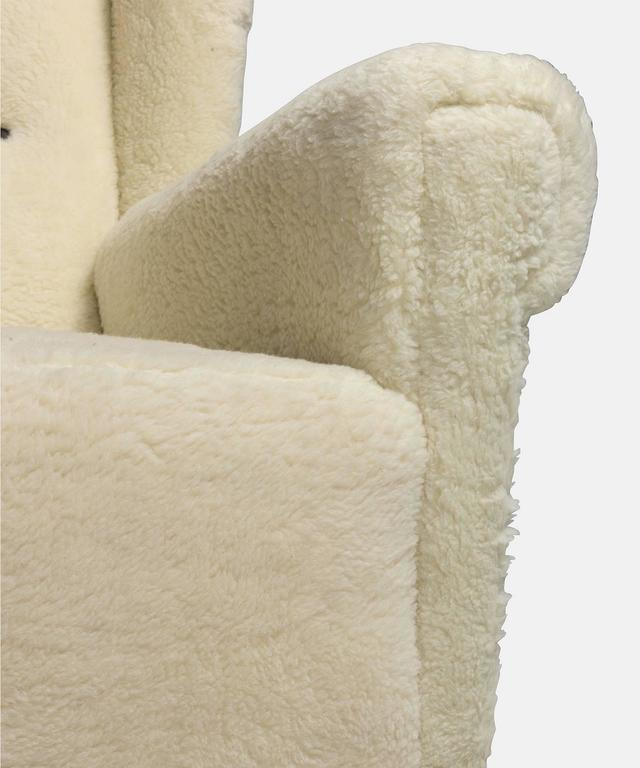 Faux Wool Danish Wingback Chair, circa 1970 4