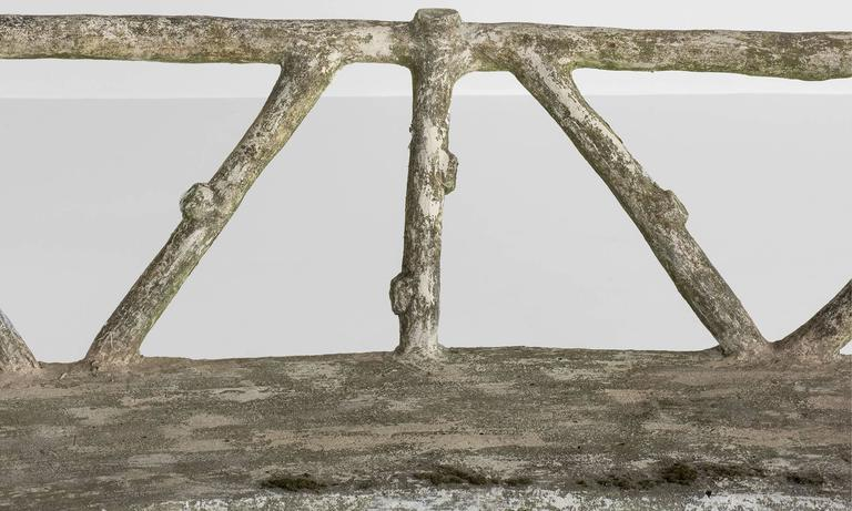 French Cast Stone Faux Bois Garden Bench, circa 1930 For Sale