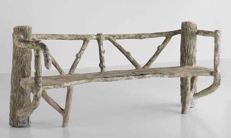 Modern Cast Stone Faux Bois Garden Bench, circa 1930 For Sale