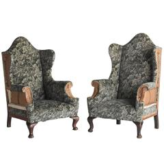 Victorian Velvet and Wood Wingchairs, circa 1890