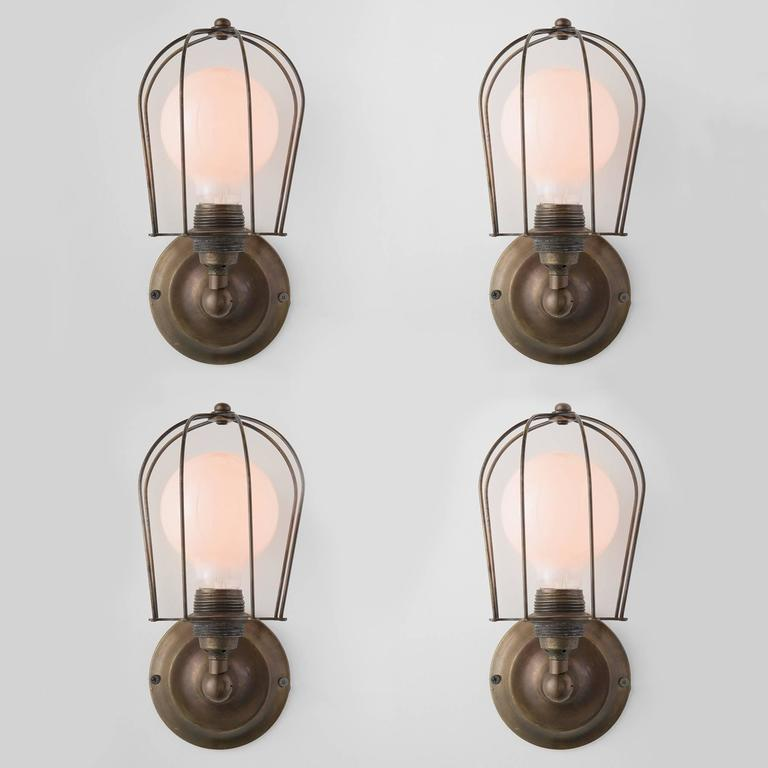 Italian Brass Caged Wall Sconce, Italy, 21st century For Sale