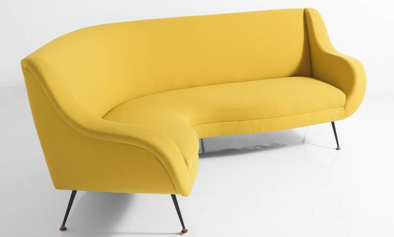 Italian Modern Curved Sofa, circa 1960 For Sale