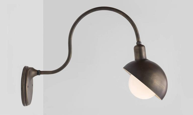 Large Scale Brass Gooseneck Sconce For Sale at 1stdibs
