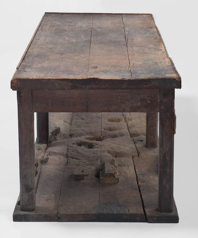 Wood Primitive Console on Hardwood Flooring For Sale