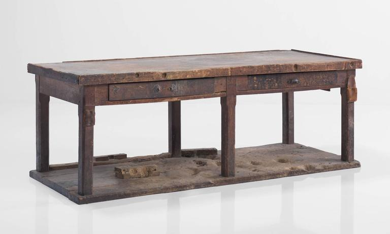 French Primitive Console on Hardwood Flooring For Sale