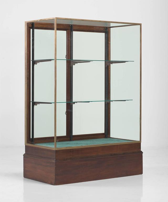 Victorian Style Bronze And Mahogany Display Cabinet Circa 1920 For